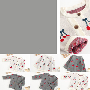 rls Clothes Cherry Toddler Girl Cardigan Cotton Children Sweaters Infant Baby Designer Outwears Boutique Baby Clothing BT4384 OB3R