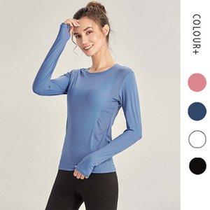 L-232 Женщины Йога с длинным рукавом футболки эластичные спортивные вершины наряд Фитнес-рубашка растягивающая стройная вершина для кожи на ходу на ходу