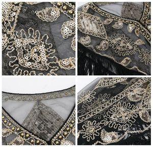 Women Vintage Shawl Shiny Sequins Decoration Fashion Tassels Decoration High Quality Elegant Wedding Dress Accessori jllEDI