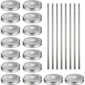16pcs Stainless Steel Straws Storage Solid Caps Secure Portable Leak Proof Glass Bottles Reusable Round Tinplate Mason Jar Lids