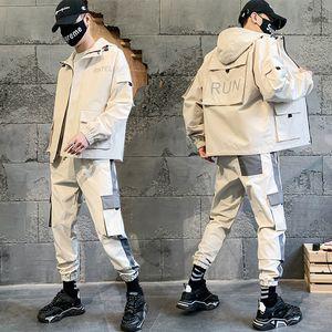 2021 Novo Masculino Militar Militar Hip Hop Suor Bolsos com Casual Fitness Zipper Manga Comprida Moda Masculina Roupa de Rodowear VWJP