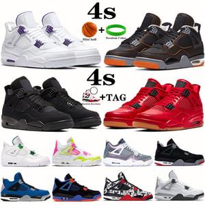 2020 الجديدة 4 فون 4S ولدت Jumpman أحذية كرة السلة OVO رش معدني أرجواني أحمر أخضر القط الأسود الرجال في الهواء الطلق أحذية رياضية الولايات المتحدة 7-13