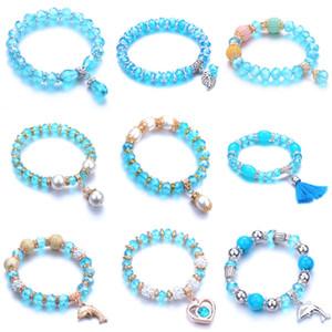 Melhor venda luz azul vidro corda cordão elástico pulseira de doces cor misturada multi estilo senhora ornamentos