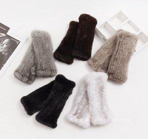 Guantes ligeros de lujo de lujo y invierno tejiendo medio dedo hembra cálido conducción navegación teléfono móvil pantalla táctil