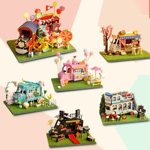 DIY Mini Car Shop Dollhouse Circus Flower Kanto Cooking Kit Assembled Miniature with Furniture Doll House Toys for Kids Girls 210225