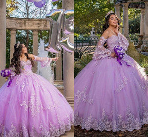 Lavender Puffy Sleeves Quinceanera Dresses Ball Gown For Womens 2021 Strapless Corset Back Applique Lace Beaded Prom Sweet 16 Dress Long