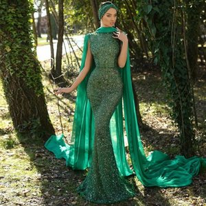 Modest Green Mermaid Evening Dresses with Cape High Collar Beaded Sweep Train Celebrity Evening Gowns Chiffon Prom Dress