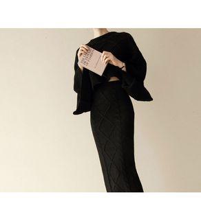 2021 New Autumn Winter Fashion Knitted 2 Piece Set Batwing Sleeve Tops+slim Split Bodycon Skirt Female Sweater 6KU0