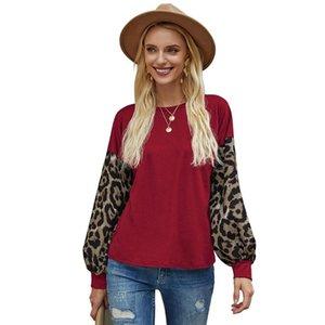 Mujeres de manga larga t shirts Casual Leopardo impreso Linterna larga manga de la tripulación Cuello suelto Suéteres Tops