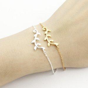 Elegant Handmade Leaf Charm Body Jewelry Link Chain Bracelets Bangles Women Bridesmaids Gift Minimalist Tree Branch Bracelces10