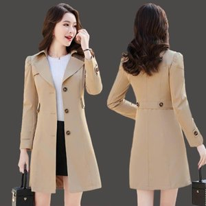 Women's Trench Coats 2021 Windbreaker Coat Mid-Length Slim Spring And Autumn Plus Size All-Match Blouse Female