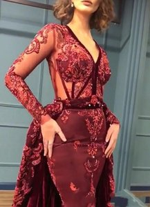 Designer Burgundy Prom Dresses V Neck Illusion Bodice Overskirt Velvet Evening Party Gowns Long Sleeves Sequins Formal Wear Robe De Soiree