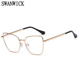 Swanwick Metal Azul Luz Bloqueo Bloqueo Femenino Gato Ojo Eyeaglasses Computadora Gafas ópticas Marcos Accesorios para mujer Fiesta