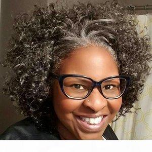 Dolcemente kinky riccio grigio capelli umani prolunga prolunga per le donne nere sale e pepe grigio scuro grigio capelli con clip con coulisse 140g