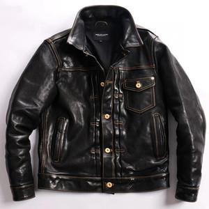 Yay! Free Shipping.2021 Batik Washed Vintage Horsehide Casual Clothing, 506 Man Thin Genuine Leather Jacket,