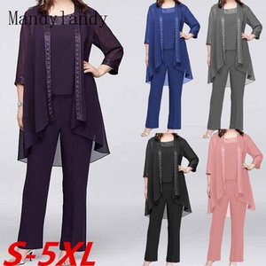 Mandylandy Chiffon Women Sets Casual Suit Mid-Rise Tops Straight-Leg Pants Cardigan Sets Lace Solid Color 3 Piece Outfits