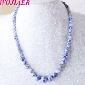 WOJIAER Personalized Natural Sodalite Stone Necklace Round Ball Beads 6-14mm Necklaces for Women Girl Birthday Jewelry Gifts DF3018