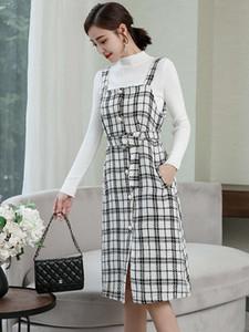 2021 autumn new knitted base coat fashion single breasted Plaid suspender medium length skirt tweed suit dress