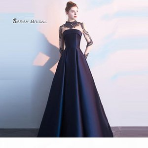 A-line High-neck Sweep Taffeta Beads Zipper Long Sleeves Ruched Prom Dresses Sexy Party Dress Hot Sales