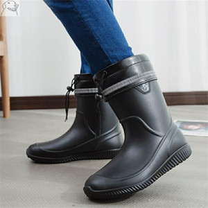 comfortable black water boots High tube labor protection middle top flat bottom rain chef car wash men's shoes