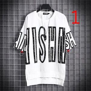 2021 New Summer Boys Loose Short-sleeved T-shirt Trend Korean Three-quarter Sleeve Harajuku Bf Wind Khsy