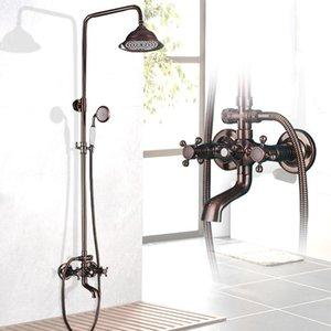 """Matte Red Chuveiro Faucet Set Chuva Bronze 8 """"Chuveiro Torneira Banheira Casa de banho 360 Bico de Rotatble"""