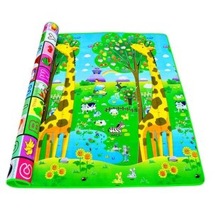 Baby Crawling Play Mat 2*1.8 Meter Climb Pad Double-Side Fruit Letters And Happy Farm Toys Playmat Kids Carpet Game 210924