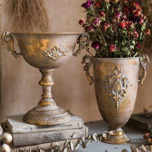 Vintage Old Wrought Iron Vase Flower Home Furnishing Golden Silver European Flower Pot Goblet Classical Floral Decoration
