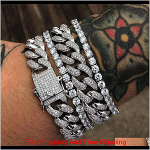 2020 Gold Silver Bracelets Jewelry Diamond Iced Out Chain Miami Cuban Link Chain Bracelet Mens Hip Hop Jewelry Rauh7 O6Z0P