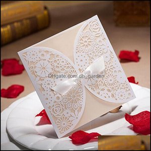 Greeting Event Festive Party Supplies Home & Gardengreeting Cards 20Pieces Bowknot Wedding Invitation Card Laser Cut White Hollow Flowers Bl