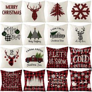 new18 Inch Christmas Pillowcase Plaid Printed Linen Decor Throw Cushion Cover Home Sofa Decorative Pillow Case HWE8328