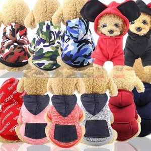 Pet Dog Clothes Warm Dog Hoodies Coat Pocket Jackets Puppy Pet Overalls Small Dog Costume Pets Outfits Pet Supplies 16 Colors XHCFYZ101
