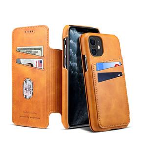 Retro Vintage Vegan Folio Leather Wallet Clutch Bracket Shell Suteni for iPhone 12 Mini 11 Pro Max XR XS 6s 8 Plus SE