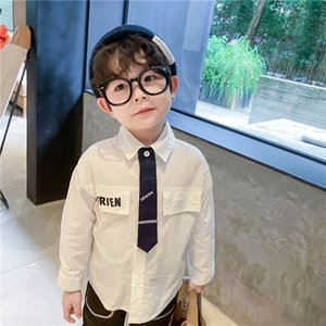 Boys Shirts Long Sleeve Kids Shirts New Cotton Tie Baby Tshirt Spring Autumn Toddler Tops Children Clothes 1-6Y SM050