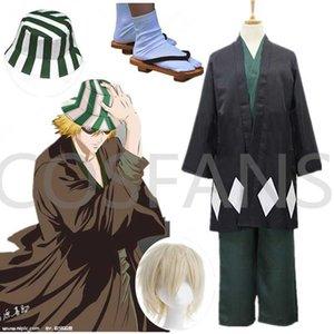 Anime Bleach Cosplay Urahara Kisuke Gotei 13 Costume Kimono Halloween Costume Full Outfit (Cape&Tops&Pants&Hat) Y0903