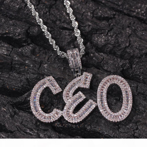 Hip Hop Custom Name Baguette Letters Pendant Necklace With Free Rope Chain Gold Silver Bling Zirconia Men Pendant Jewelry