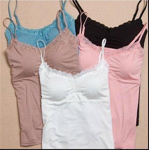 2021 Lacio de verano Camisola acolchada Mujeres Tops Tops Bras Sujetador sin costuras Padded Solid Tank Top Tizcos Sleepwear Ropa de dormir Pijamas suave