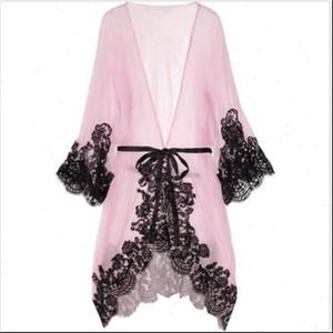 Local stock Women Sexy Sleepwear Chemise Kimono Sleep Nightie Gown Bath Robe Coat jacket Drop Shipping
