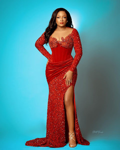 Aso Ebi 2021 Arabic Red Sparkly Mermaid Evening Dresses Sheer Neck Prom Dresses Lace Beaded Formal Party Second Reception Gowns ZJ667