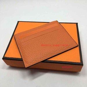 Cartera de crédito de alta calidad 100% de cuero genuino de la tarjeta de negocios nueva caja de la tarjeta de moda para el protector de tarjetas de identificación de hombre