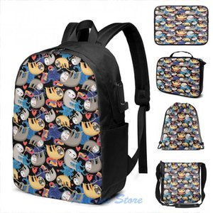 Backpack Funny Graphic Print Bright Fun Sloths USB Charge Men School Bags Women Cosmetic Bag Travel Laptop