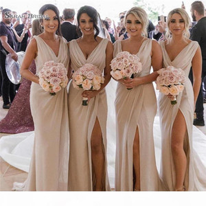 Gorgeous Chiffon V Neck Sheath Bridesmaid Dresses High Split Beach After Party Look Maid of Honors Wear