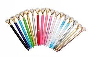2019 Top Fashion Diamond Ballpoint Pen With Large Crystal Glass Diamond luxury pen Creative School Office Supplies Christmas gifts
