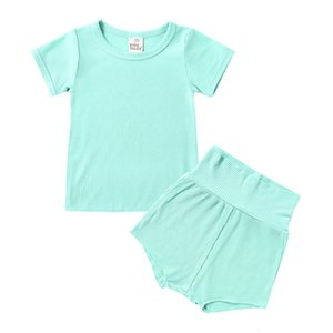 2021 New Tales Summer Kids Pajamas Set 16 Colors Boy Girls Loungewear Solid Cotton Children Homewear Sleepwear Cozy Baby Shorts 8y8e