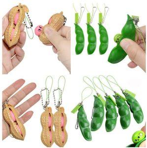 US сток декомпрессии эдамаме игрушки edamame squishy сжать горох бобов брелок против стресса взрослый игрушка резиновые мальчики рождественские подарок едут игрушки bj01