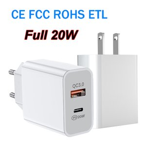 Full 20W Adapter USB-C Type C QC3.0 Wall Charger Power Delivery PD Quick Charging for iPhone Samsung With CE FCC ROHS ETL