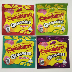 500 mg Baies acides Tropical Cannaburst Candy Sours Candy Emballage Sac Cross-Bordure Sacs Biscuits Biscuits Sacs à chaud Gummies Sacs GWC6312
