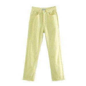 Mxtin 2021 mulheres primavera jeans vintage calças moda zíper alta cintura reta rua rua estilo torrous