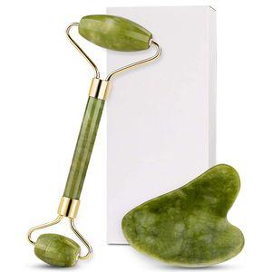 Tamax 100% grade A Green Jade Roller Visage du visage Visage du visage Massager Massager Guasha Gua Sha Kits Soudge métallique Free Free Zinc Alliage Cadre