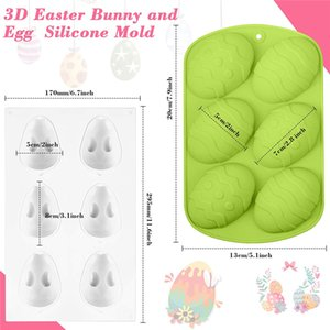3 Pieces Easter Egg Shape and Rabbit Bunny Baking Mold DIY Chocolate Mold for Easter Handmade Soap Pastry Cake Dessert Decoration KKF5155